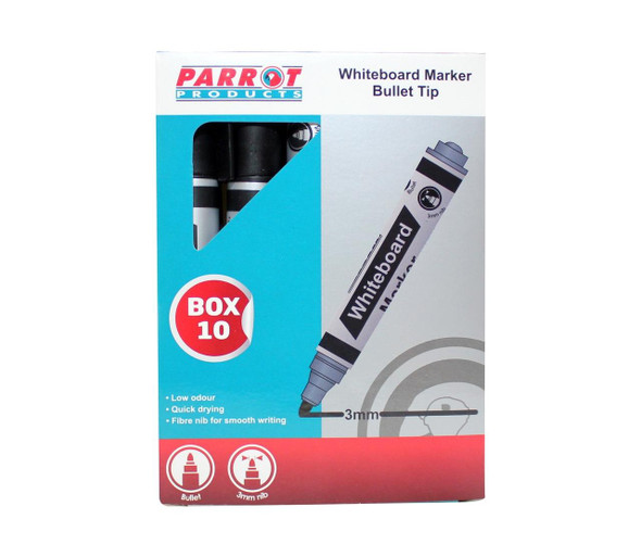 Whiteboard Markers 10 Markers - Bullet Tip - Black