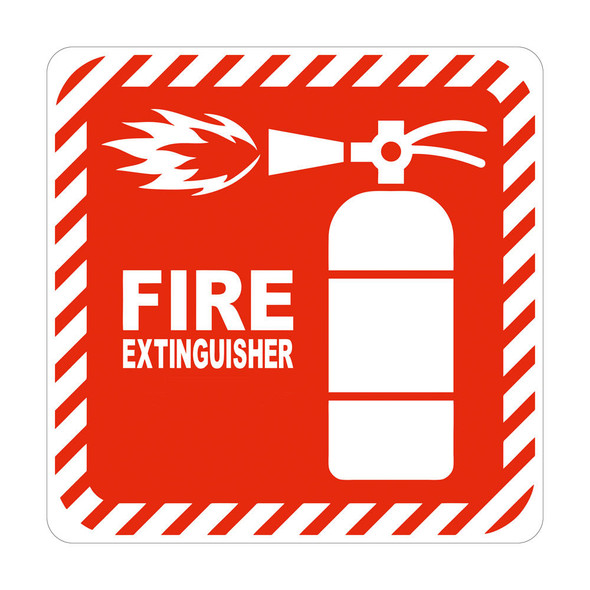 Red Fire Extinguisher Symbolic Sign on White ACP 150 x 150mm