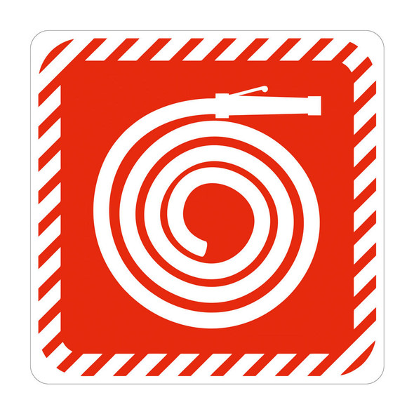 White Fire Hose Reel Symbolic Sign With Red - Printed on White ACP 150 x 150mm