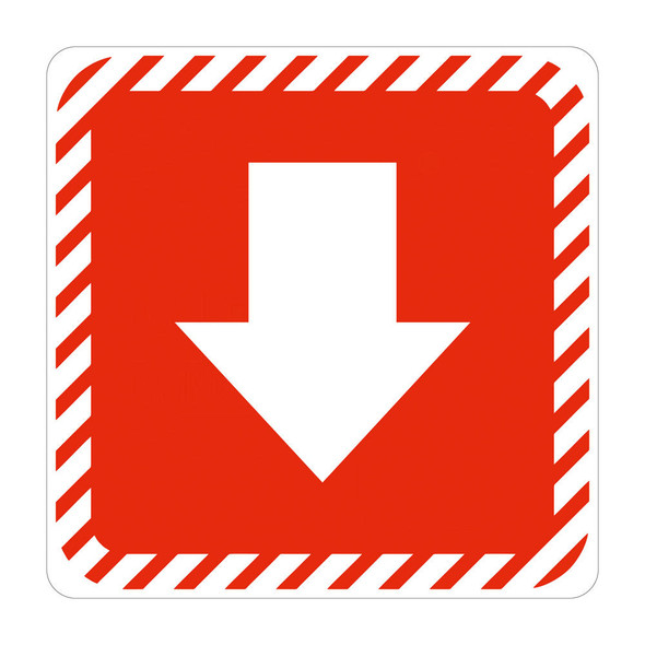 White Arrow with Red Symbolic Sign on White ACP 150 x 150mm