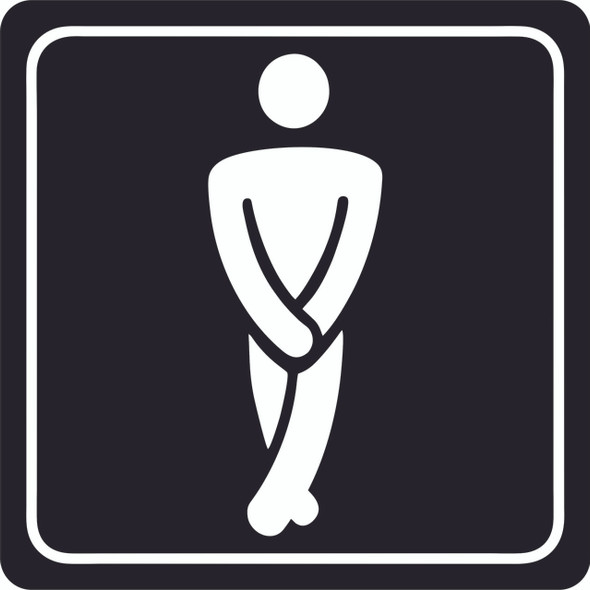 Gents Toilet Symbolic Sign - White Printed on Black ACP 150 x 150mm