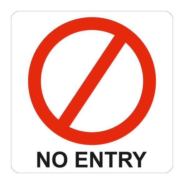 No Entry Symbolic Sign - Printed on White ACP 150 x 150mm