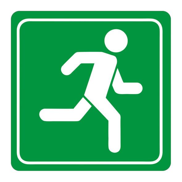 Green Man Running Symbolic Sign - Printed on White ACP 150 x 150mm