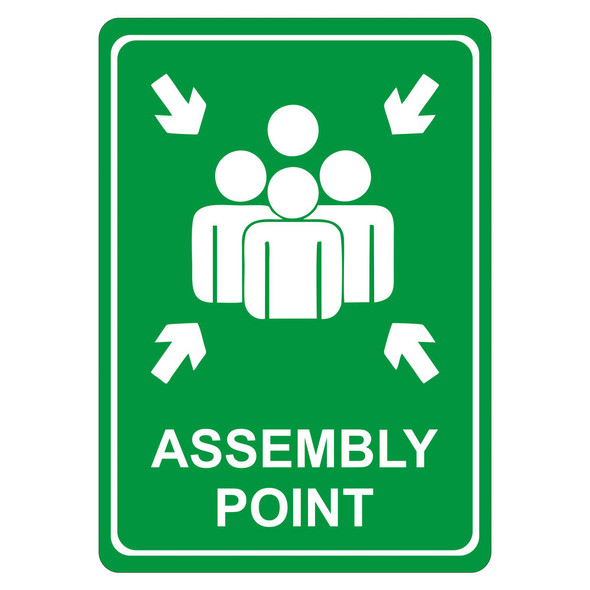 Green Assembly Point Symbolic Sign - Printed on White ACP 297 x 210mm