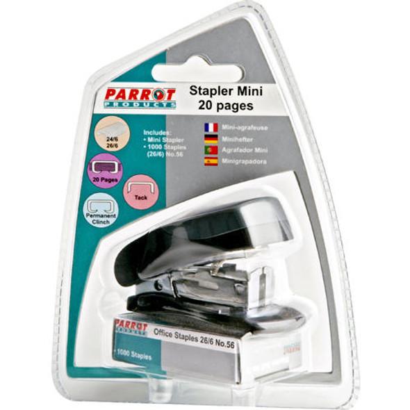 Plastic Mini Stapler Black and Staples 100026/6