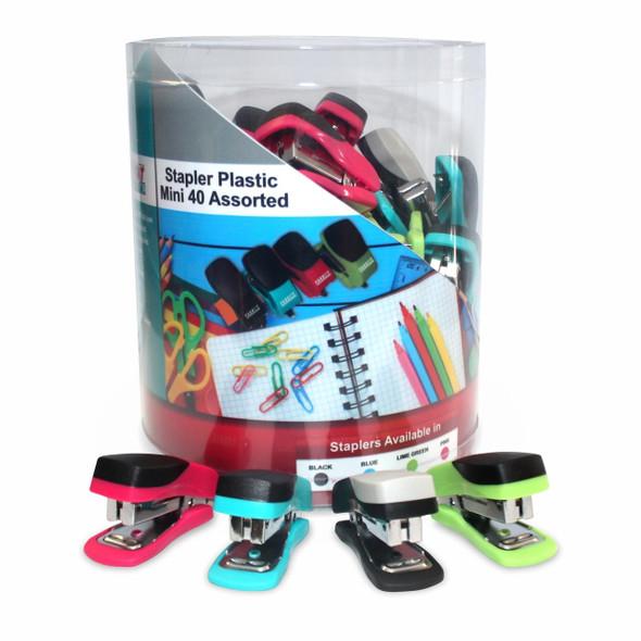 40 Mini Assorted Plastic Staplers