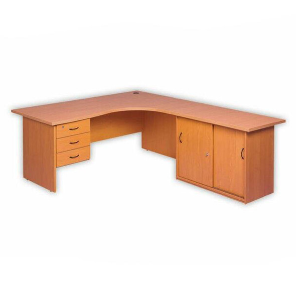 Cluster Desk Panel Legs Attached Drawers and Credenza
