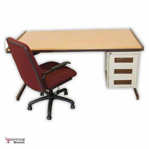Steel Atlantic Desk with Three Drawer Pedestal