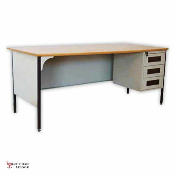 Steel Mediterranean Desk with Three Drawer Pedestal