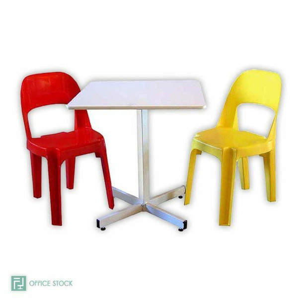 Square Canteen Table in White Melamine and Steel