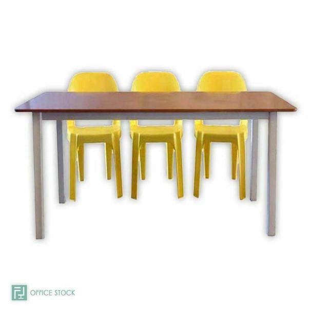 Rectangular Supawood Table with Metal Cradle Stand