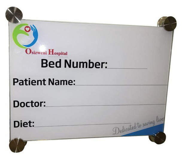 Hospital Glass Bed Board with Print 350x350mm