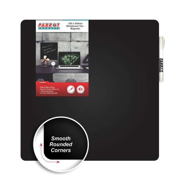 Magnetic Whiteboard Tile 355355mm - Black