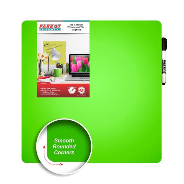 Magnetic Whiteboard Tile 355355mm - Green