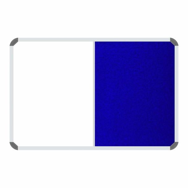 Non-Magnetic Combination Whiteboard 20001200mm - Royal Blue Felt
