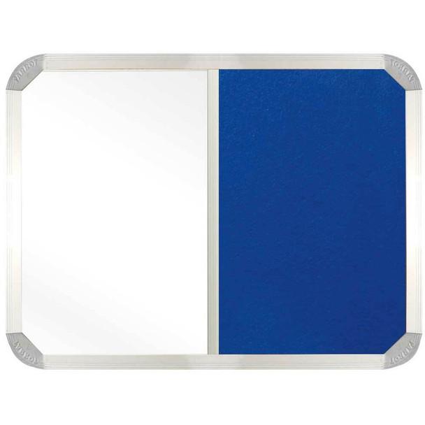 Non-Magnetic Combination Whiteboard 900600mm - Royal Blue Felt