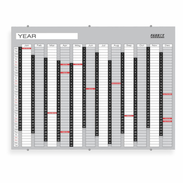 Year Planner Glass Non-Magnetic 1200900mm