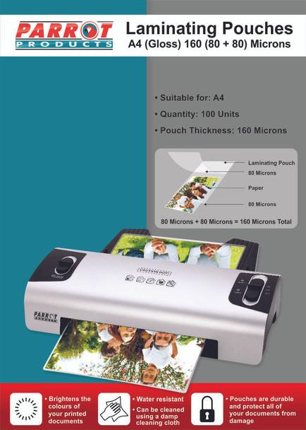 Laminating Pouches A4 - Gloss - 220x310mm - 160 8080 Microns - Box 100