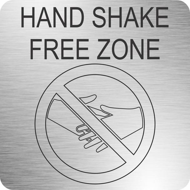 Hand Shake Free Zone 210 x 210mm - Brushed ACP
