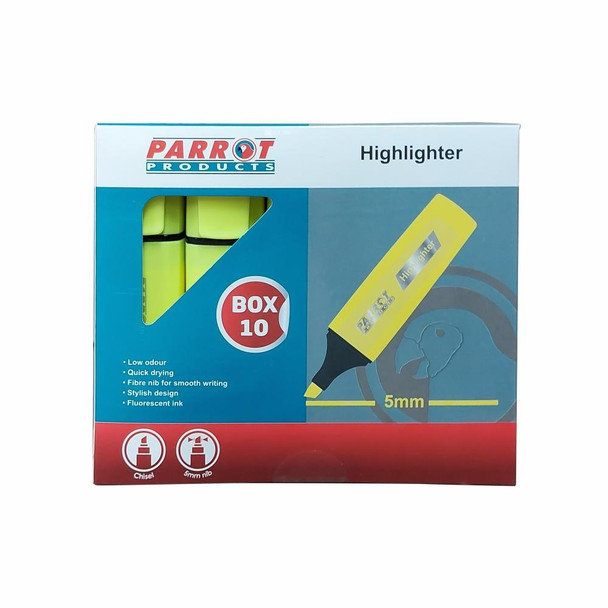 Highlighter Marker Box 10 Markers - Yellow