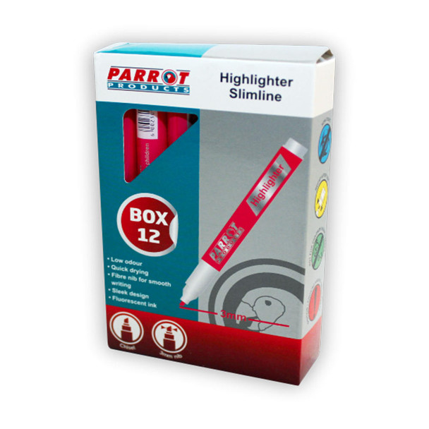 Slimline Marker Highlighters Box of 12 - Pink