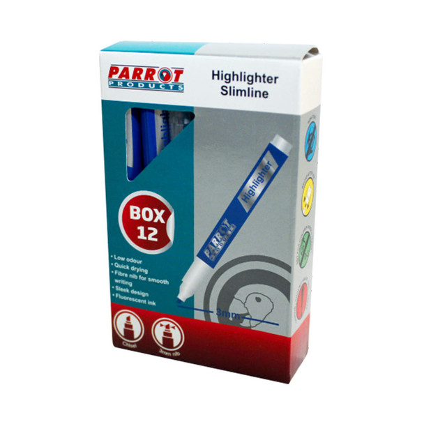 Slimline Marker Highlighters Box of 12 - Blue