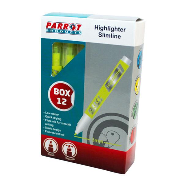 Slimline Marker Highlighters Box of 12 - Yellow