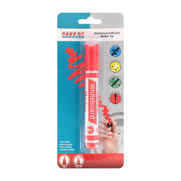 Whiteboard Marker Bullet Tip - Carded - Red