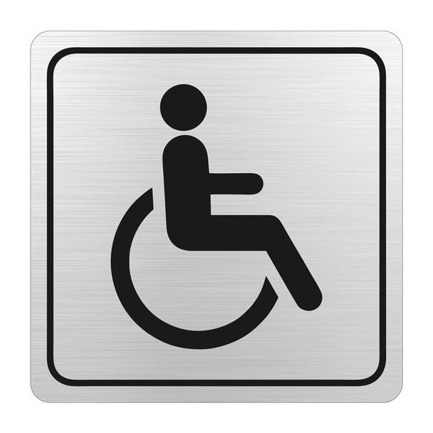 Disabled Toilet Symbolic Sign - Black Printed on Brushed Aluminium ACP 150 x 150mm