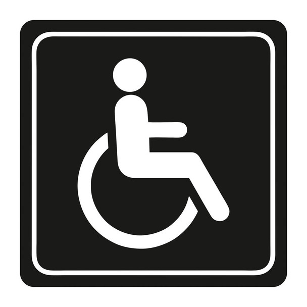 Disabled Toilet Symbolic Sign - White Printed on Black ACP 150 x 150mm