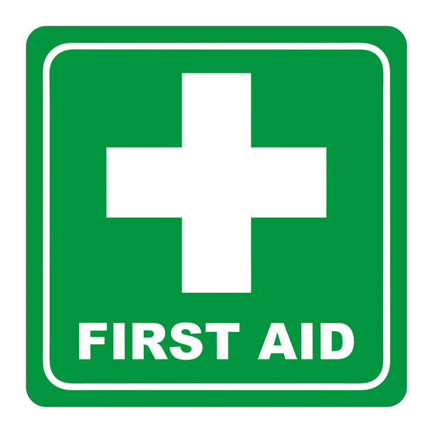 Green First Aid Symbolic Sign - Printed on White ACP 150 x 150mm