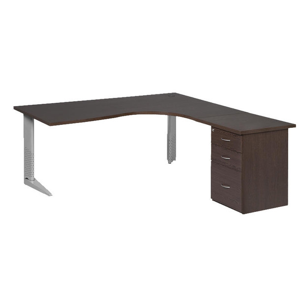 Cluster Desk with Steel Legs and Desk Height Pedestal