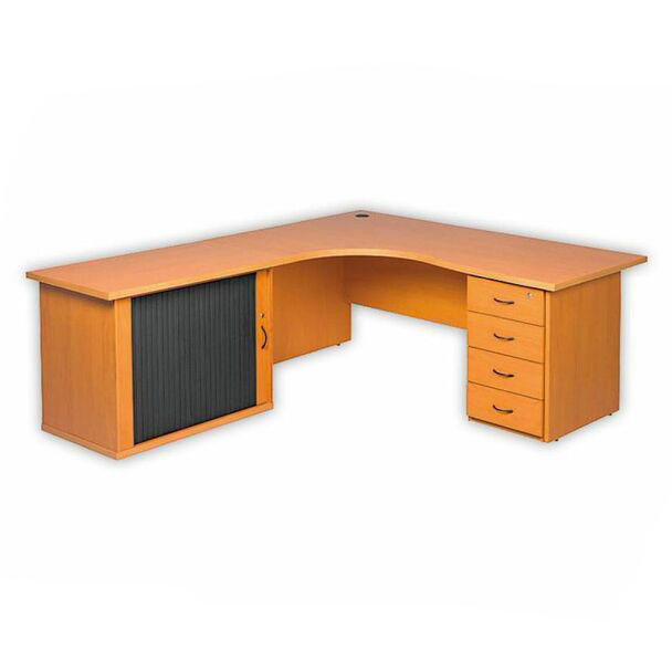 Cluster Desk with Credenza and Desk Height Pedestal