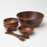 Stained Rubberwood Salad / Serving Bowls & Sets