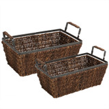 Rectangular Shelf Basket, 2 -Piece Set, Metal Abaca Collection