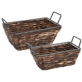 Rectangular Shelf Basket, 2-Piece Set, Metal Abaca Collection