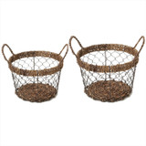 Round Baskets, 2-Piece Set, Wired Abaca Collection