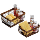 Rectangular Baskets, 2-Piece Set, Wired Abaca Collection