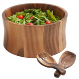 "Salad / Serving Bowl, 3-Piece Set, Acacia Wood, 10"" Bowl + Salad Hands, Bali Collection"