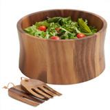 """Salad / Serving Bowl, 3 PC Set, Acacia Wood, 10"""" Bowl + Salad Hands,  Bali Collection"""