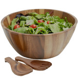 "Salad / Serving Bowl, 3-Piece Set, Acacia Wood,  12"" Bowl + Serving Hands, Bangkok Collection"