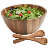 "Salad / Serving Bowl, 3- Piece Set, Acacia Wood, 12"" Bowl + Salad Servers, Panglao Collection"