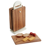 "Individual Rectangular Serving Trays, 7-Piece Set, Acacia Wood, 9"" x 6"""