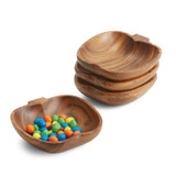 "Snack Dish - Apple, 4-Piece Set, Acacia Wood, 6"" x 6"" x 1.5"""