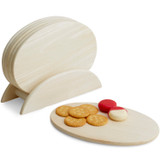"Individual Oval Serving Trays, 7-Piece Set, Rubberwood,  9 1/2"" x 6 1/2"""