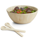 "Salad / Serving Bowl, 3-Piece Set, Whitewashed Rubberwood, 12"" Bowl + Servers, Provencal Collection"