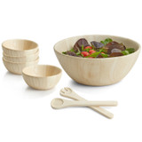 "Salad / Serving Bowl, 7-Piece Set, Whitewashed Rubberwood, 12"" Bowl + 4 Individual Bowls + Servers, Provencal Collection"