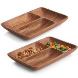 "3 Section Rectangular Tray, 2-Piece Set, Acacia Wood, 12"" x 8"" x 1.5"""
