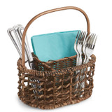 "Flatware Caddy - Oval, 11"" x 6"" x 9 1/2"", Gold Handle Collection"
