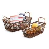 Rectangular Shelf Basket, 2 -Piece Set, Gold Handle Collection